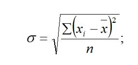 Среднее квадратическое отклонение для несгруппированных данных
