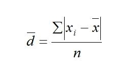 среднее линейное отклонение для несгруп данных