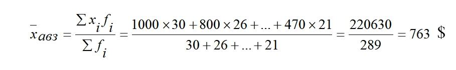 Пример расчета сред арифм взвешенная